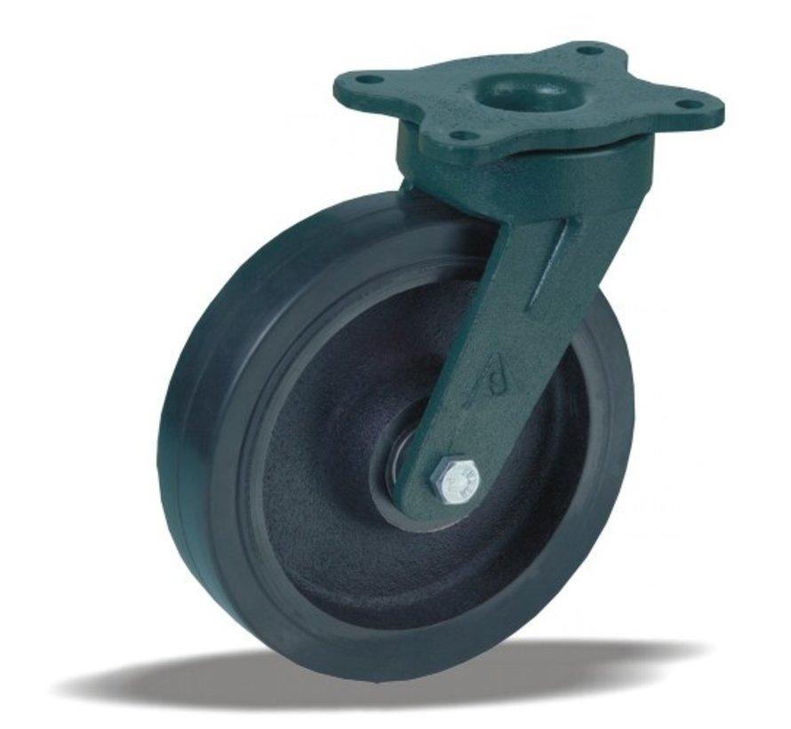 heavy duty Swivel castor + black rubber tyre Ø200 x W50mm for  500kg Prod ID: 55388