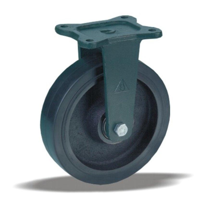 heavy duty Fixed  castor + black rubber tyre Ø200 x W50mm for  500kg Prod ID: 55372