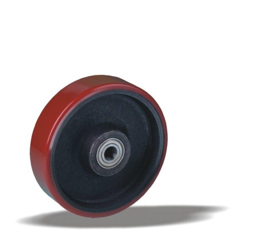 za težje delovne pogoje kolo + brizgana poliuretanska obloga  Ø160 x W50mm Za  850kg Prod ID: 42503