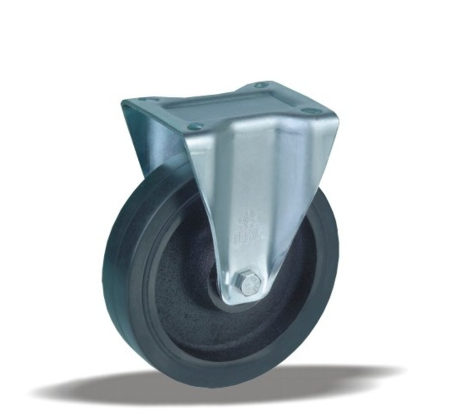 heavy duty Fixed  castor + injection-moulded polyurethane tread Ø160 x W50mm for  600kg Prod ID: 42443