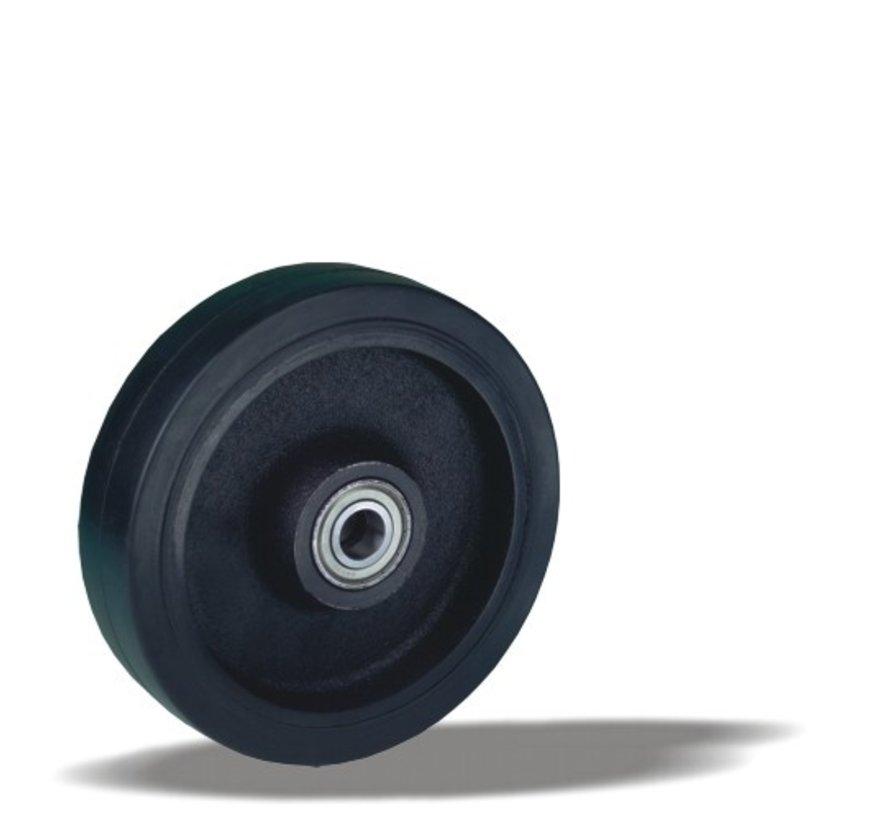heavy duty wheel + black rubber tyre Ø200 x W50mm for  600kg Prod ID: 42513
