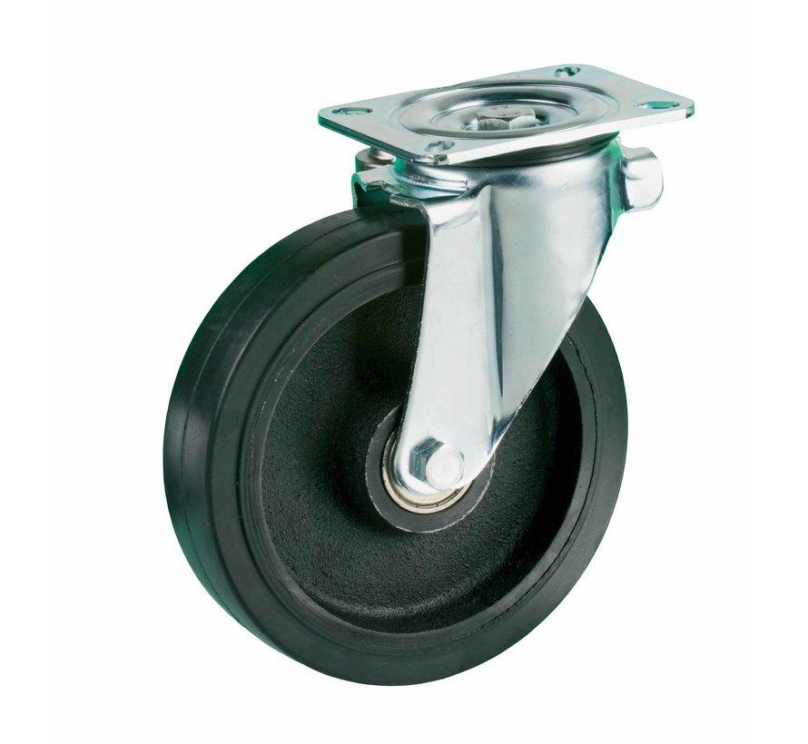 za težje delovne pogoje vrtljivo kolo  + črna guma Ø200 x W50mm Za  600kg Prod ID: 42433