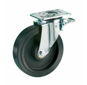 LIV SYSTEMS Swivel castor with brake + black rubber tread Ø160 x W50mm for 500kg