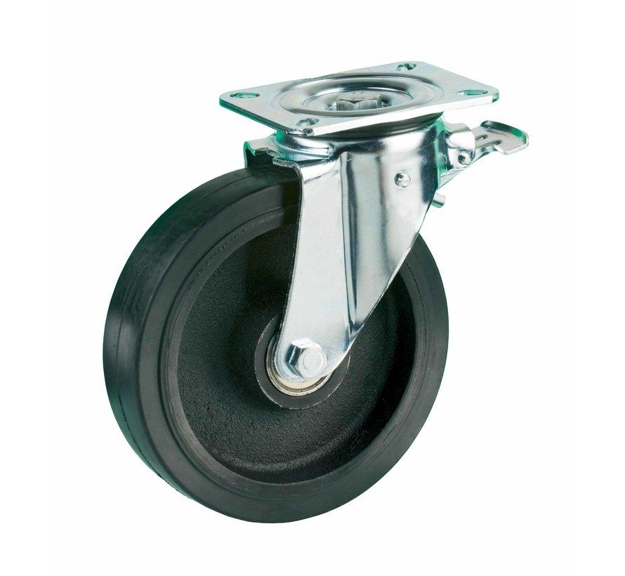heavy duty Swivel castor with brake + black rubber tyre Ø200 x W50mm for  600kg Prod ID: 42435