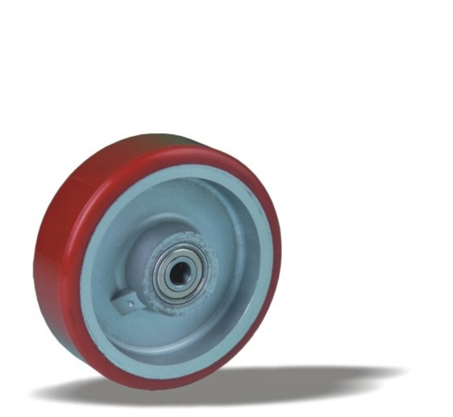 heavy duty wheel + injection-moulded polyurethane tread Ø125 x W40mm for  300kg Prod ID: 42345