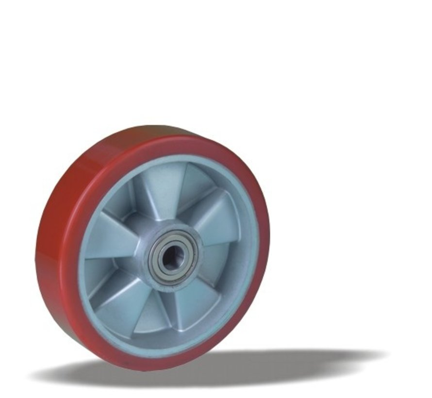 heavy duty wheel + injection-moulded polyurethane tread Ø160 x W50mm for  600kg Prod ID: 17840