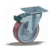 LIV SYSTEMS Swivel castor with brake + injection-moulded polyurethane tread Ø125 x W40mm for 300kg
