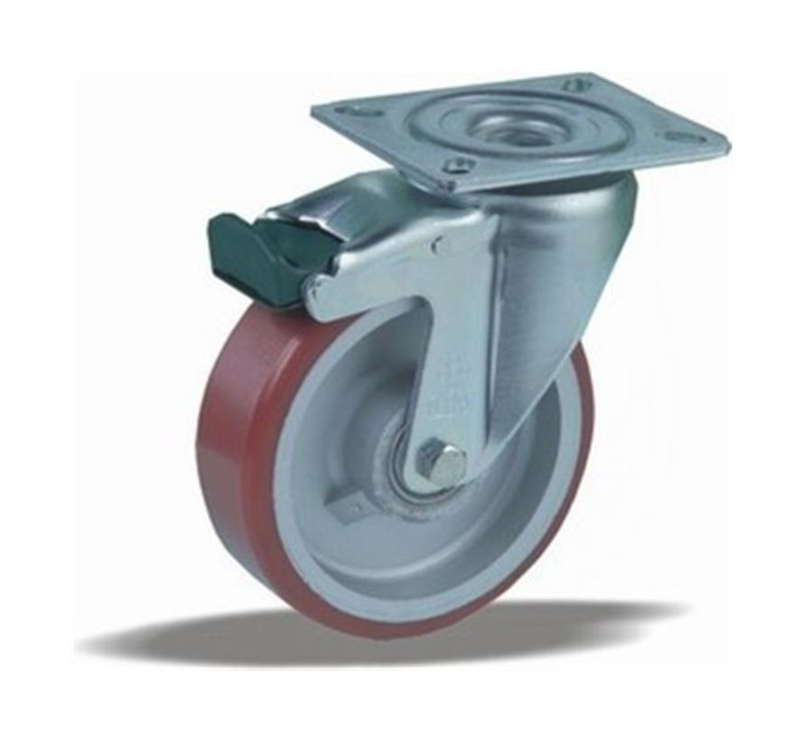 heavy duty Swivel castor with brake + injection-moulded polyurethane tread Ø125 x W40mm for  300kg Prod ID: 42413