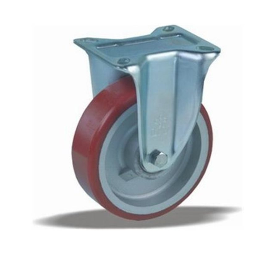 heavy duty Fixed  castor + injection-moulded polyurethane tread Ø125 x W40mm for  300kg Prod ID: 42384