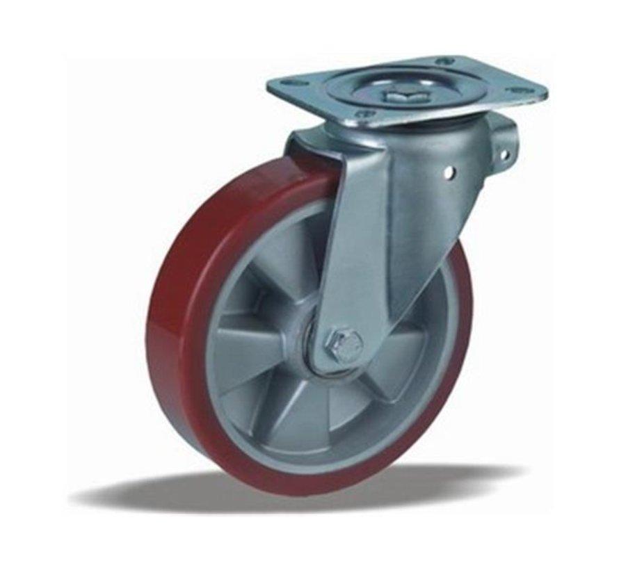 heavy duty Swivel castor + injection-moulded polyurethane tread Ø200 x W50mm for  800kg Prod ID: 42404