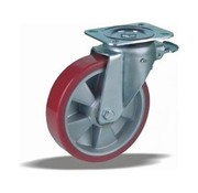 LIV SYSTEMS Swivel castor with brake + injection-moulded polyurethane tread Ø160 x W50mm for 600kg