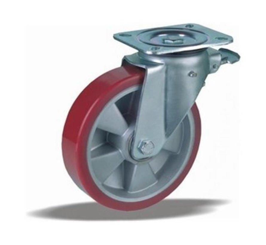heavy duty Swivel castor with brake + injection-moulded polyurethane tread Ø200 x W50mm for  600kg Prod ID: 42415