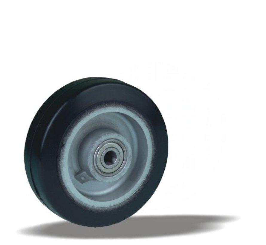 heavy duty wheel + black rubber tyre Ø125 x W40mm for  200kg Prod ID: 42343