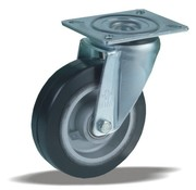 LIV SYSTEMS Swivel castor + black rubber tread Ø100 x W40mm for 170kg