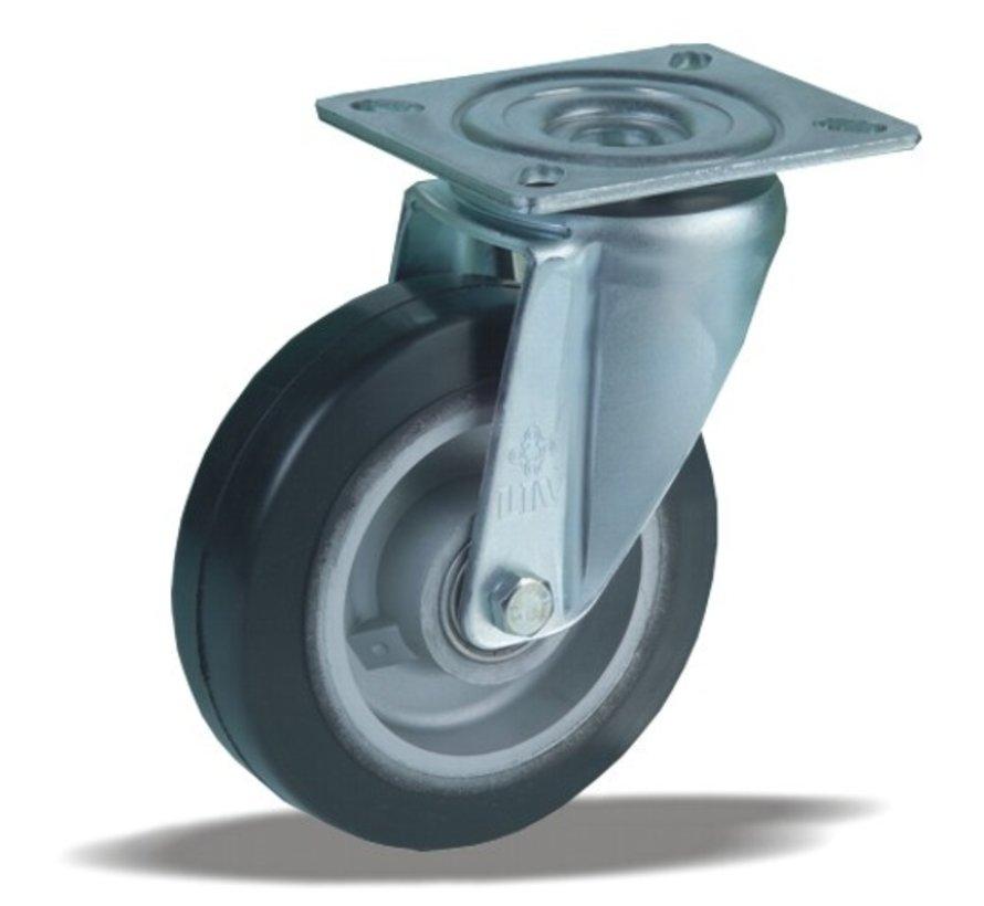 heavy duty Swivel castor + black rubber tyre Ø125 x W40mm for  200kg Prod ID: 42363