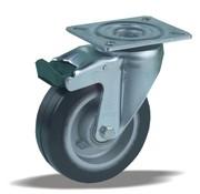 LIV SYSTEMS Swivel castor with brake + black rubber tread Ø125 x W40mm for 200kg