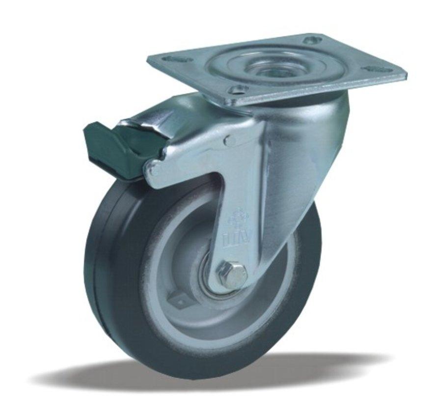 heavy duty Swivel castor with brake + black rubber tyre Ø125 x W40mm for  200kg Prod ID: 42373