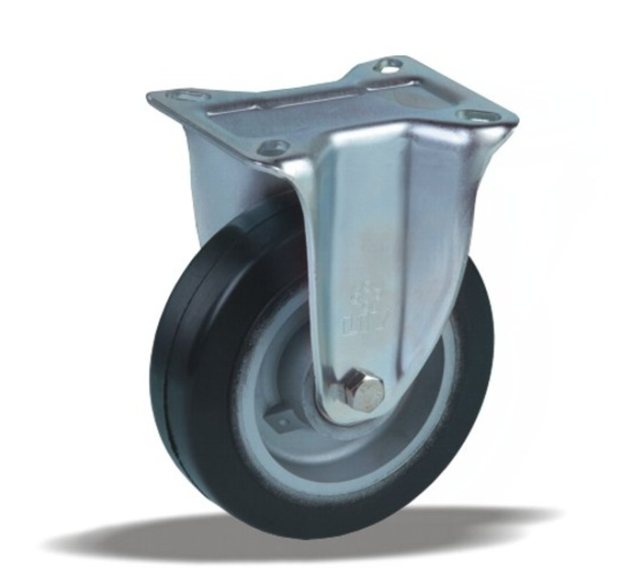 za težje delovne pogoje fiksno kolo + črna guma Ø100 x W40mm Za  170kg Prod ID: 42544