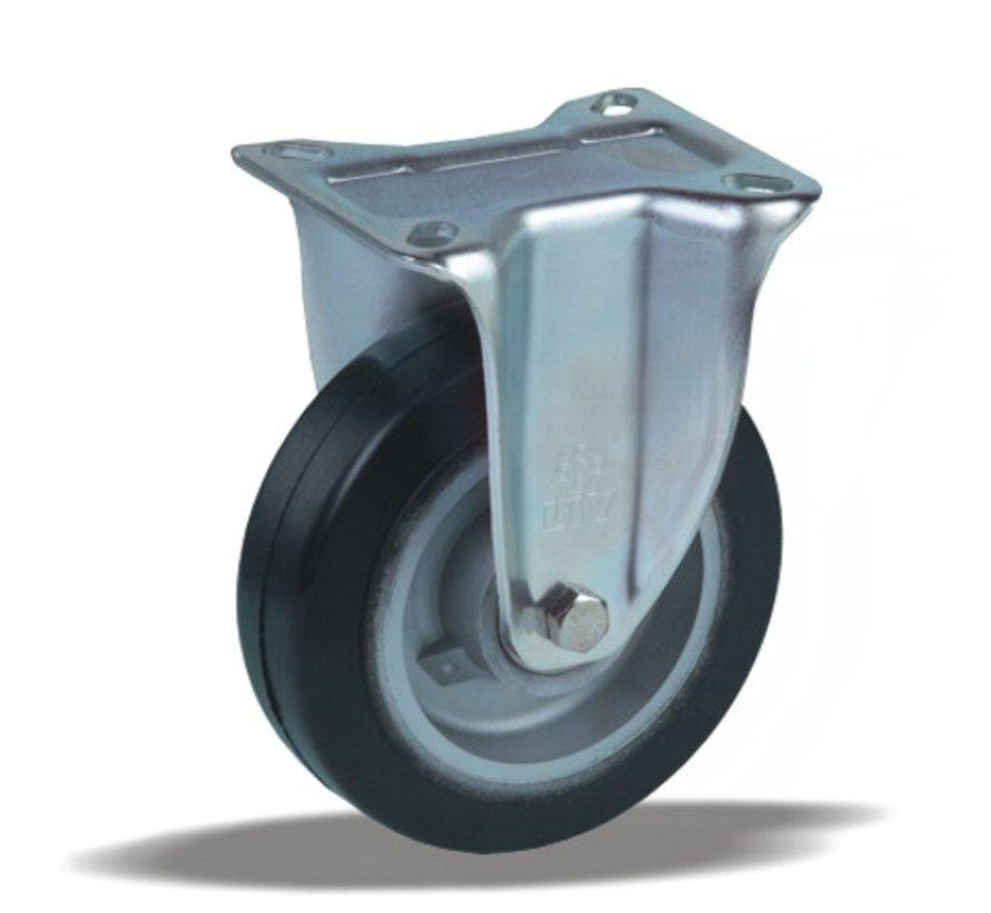 heavy duty Fixed  castor + black rubber tyre Ø125 x W40mm for  200kg Prod ID: 42353