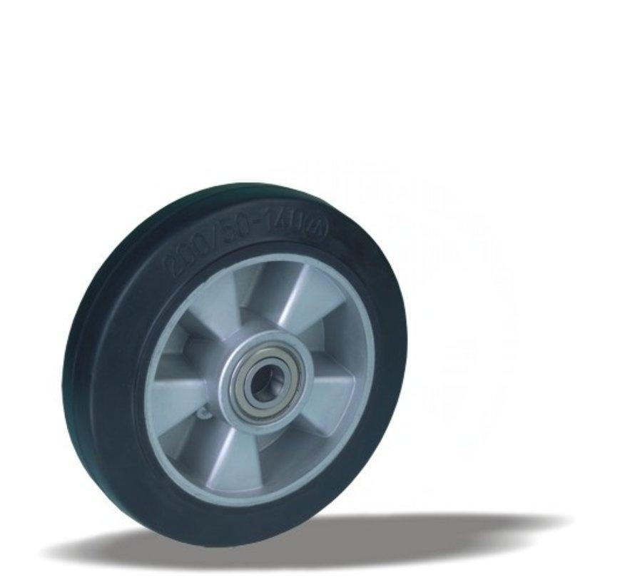 heavy duty wheel + black rubber tyre Ø200 x W50mm for  500kg Prod ID: 42515