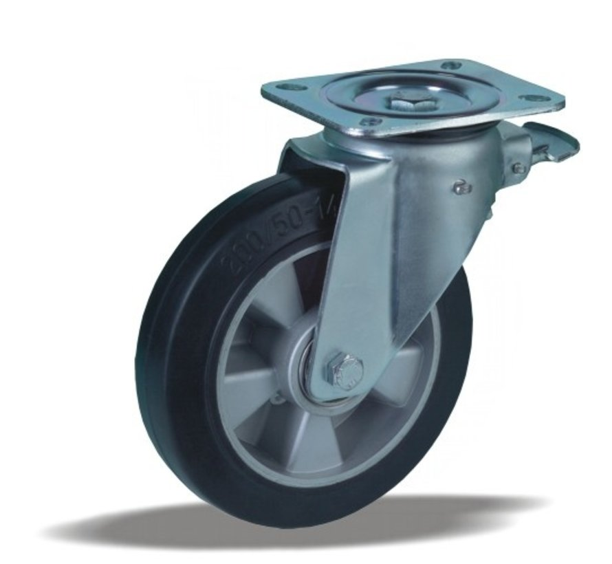 heavy duty Swivel castor with brake + black rubber tyre Ø200 x W50mm for  500kg Prod ID: 42375