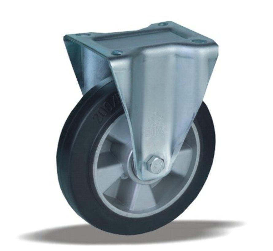 heavy duty Fixed  castor + black rubber tyre Ø200 x W50mm for  500kg Prod ID: 42355