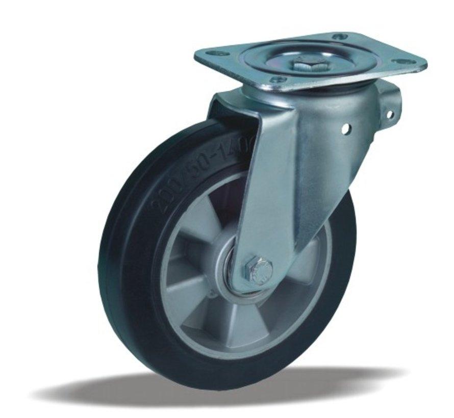 heavy duty Swivel castor + black rubber tyre Ø200 x W50mm for  500kg Prod ID: 42365