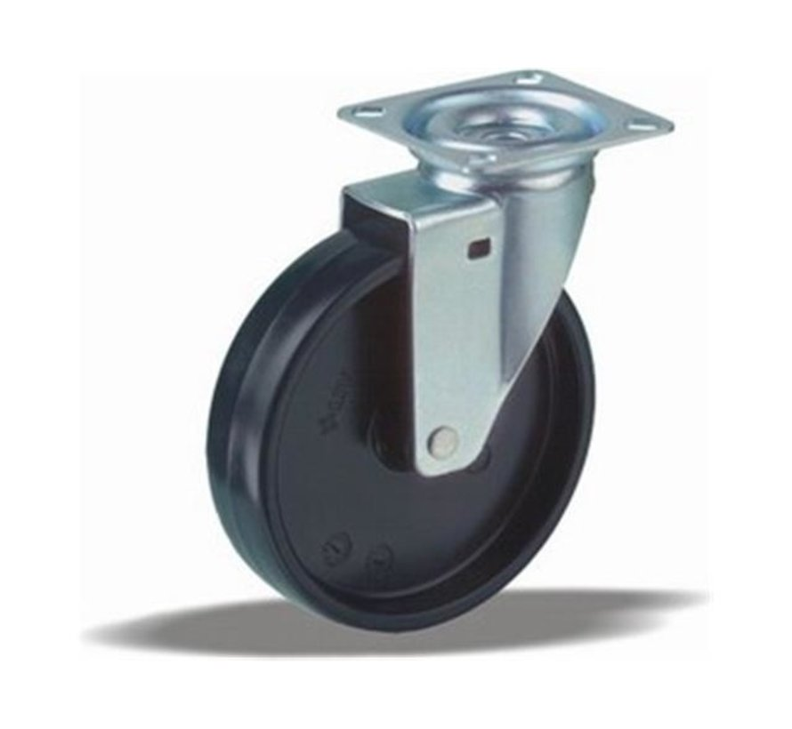 furniture Swivel castor + solid polypropylene wheel Ø100 x W25mm for  80kg Prod ID: 33645