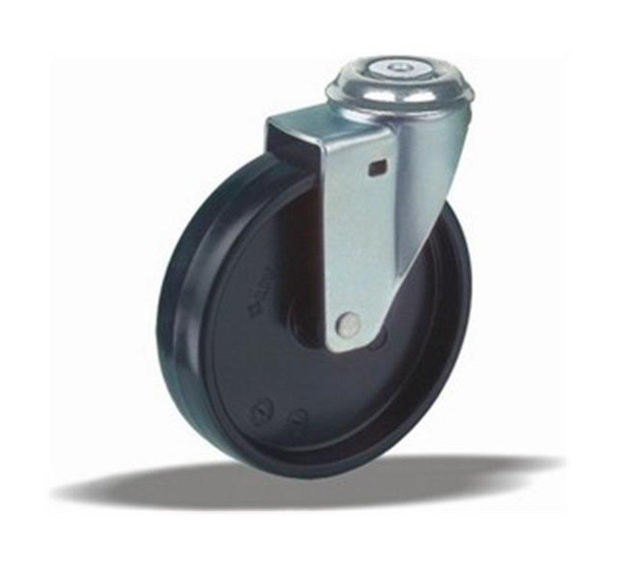 furniture Swivel castor + solid polypropylene wheel Ø100 x W25mm for  80kg Prod ID: 40735