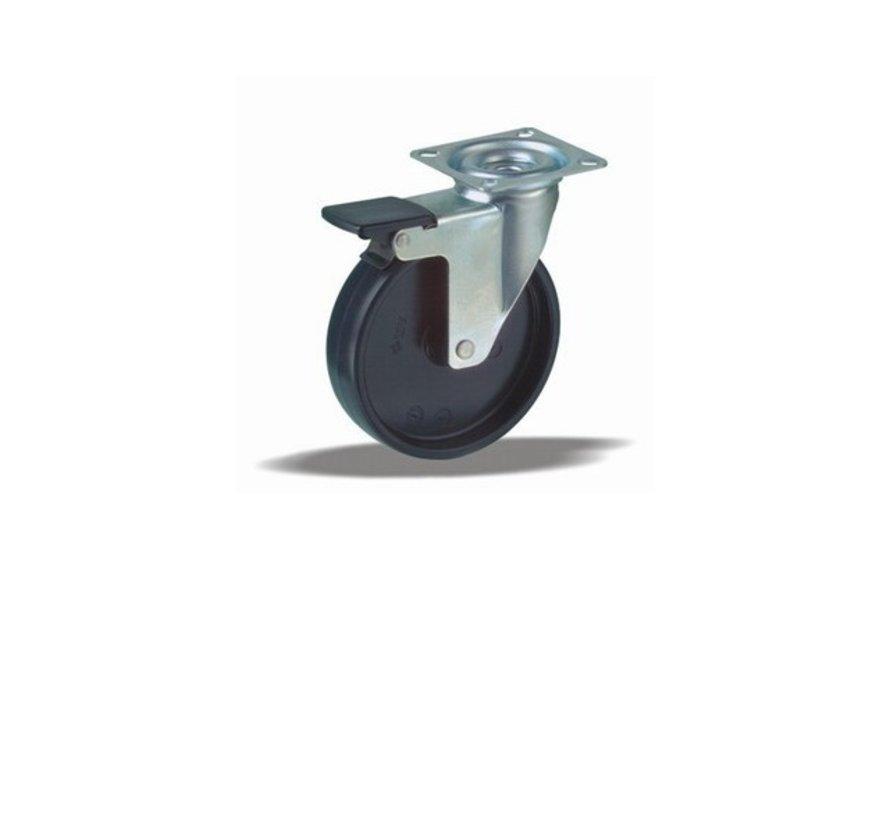 furniture Swivel castor with brake + solid polypropylene wheel Ø75 x W25mm for  75kg Prod ID: 35113