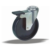 LIV SYSTEMS Swivel castor with brake + solid polypropylene wheel Ø75 x W25mm for 75kg
