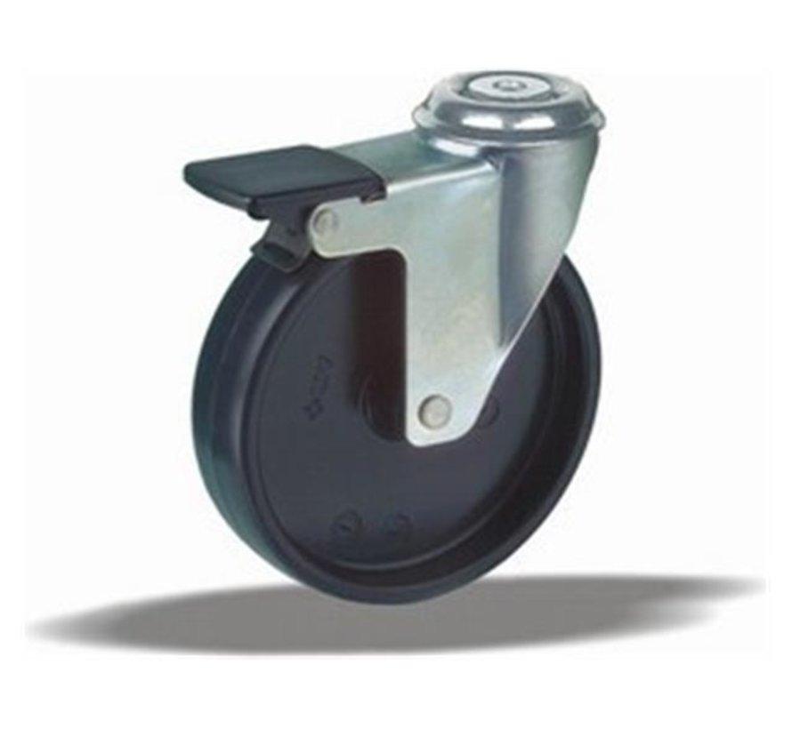 furniture Swivel castor with brake + solid polypropylene wheel Ø100 x W25mm for  80kg Prod ID: 40744