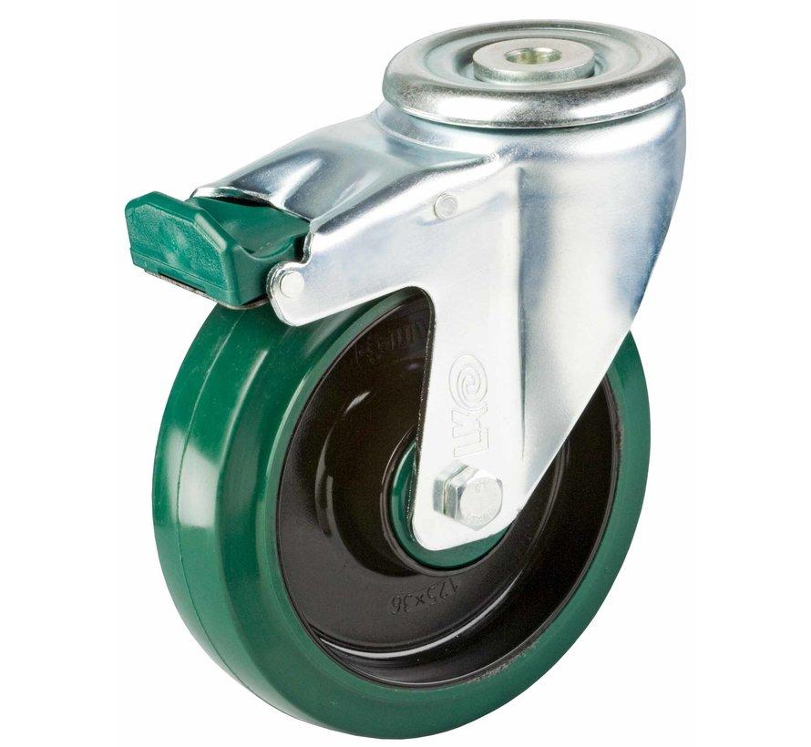 standard Swivel castor with brake + elastic rubber tyre Ø125 x W35mm for  200kg Prod ID: 41085