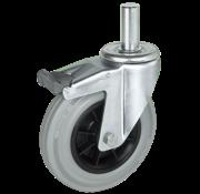 LIV SYSTEMS vrtljivo kolo z zavoro + siva guma Ø100 x W32mm Za 80kg