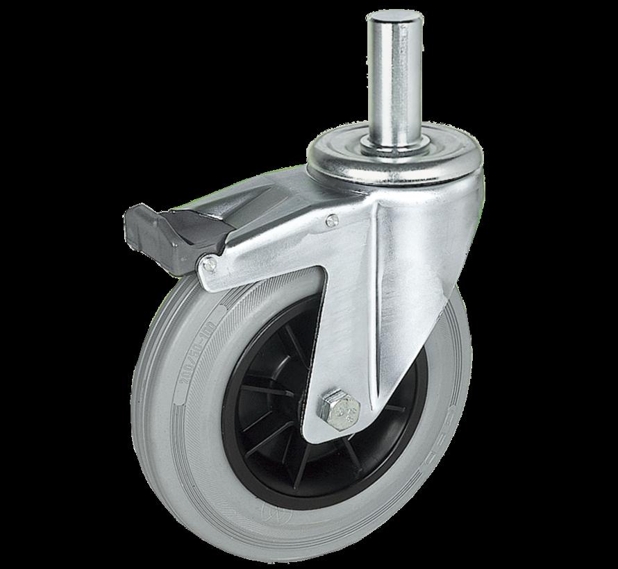 standard Swivel castor with brake + grey rubber tyre Ø125 x W37mm for  130kg Prod ID: 39514