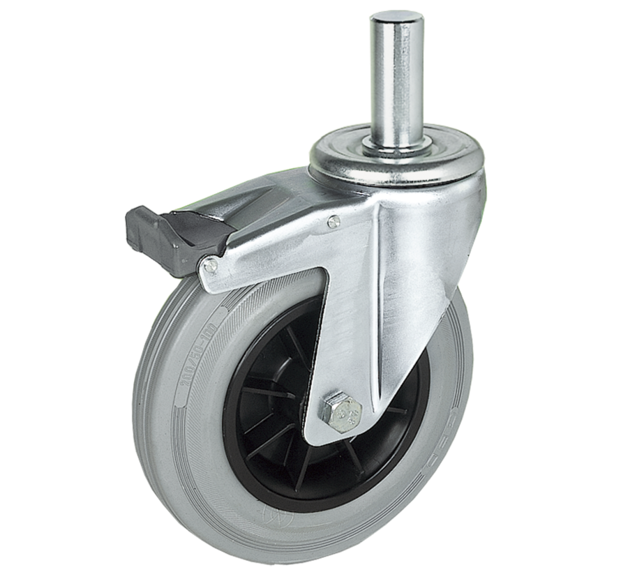 standard Swivel castor with brake + grey rubber tyre Ø200 x W50mm for  230kg Prod ID: 39544
