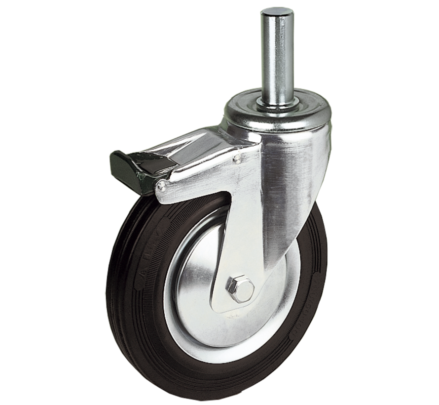 standard Swivel transport castor with brake + black rubber tyre Ø200 x W50mm for  230kg Prod ID: 31454