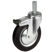 LIV SYSTEMS Swivel transport castor with brake + black rubber tread Ø100 x W32mm for 80kg