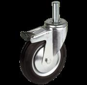 LIV SYSTEMS Swivel transport castor with brake + black rubber tread Ø125 x W37mm for 130kg
