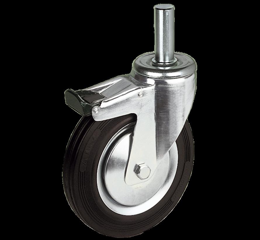 standard Swivel transport castor with brake + black rubber tyre Ø125 x W37mm for  130kg Prod ID: 30384