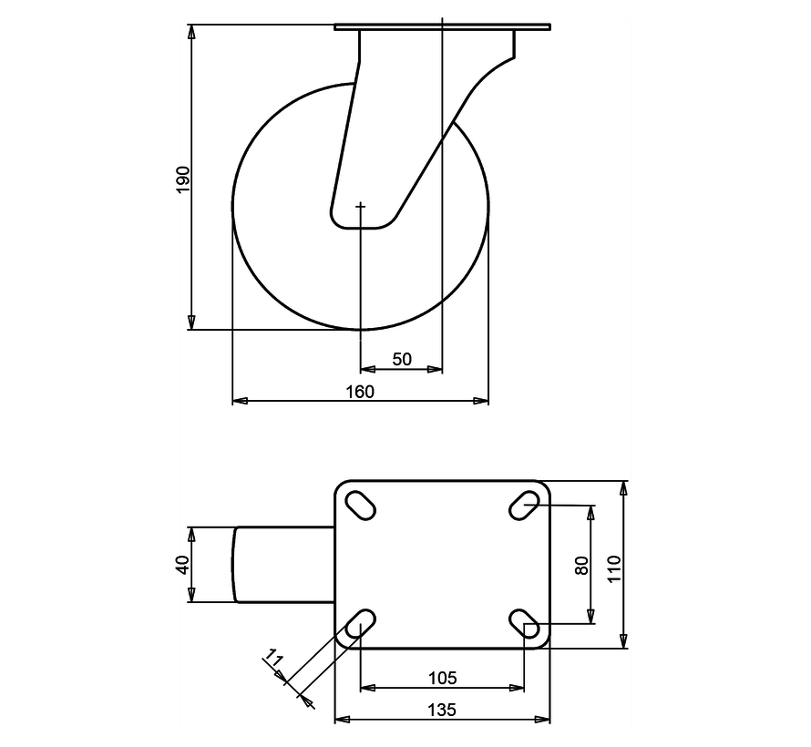 standardno vrtljivo transportno kolo + črna guma Ø160 x W40mm Za  180kg Prod ID: 64156