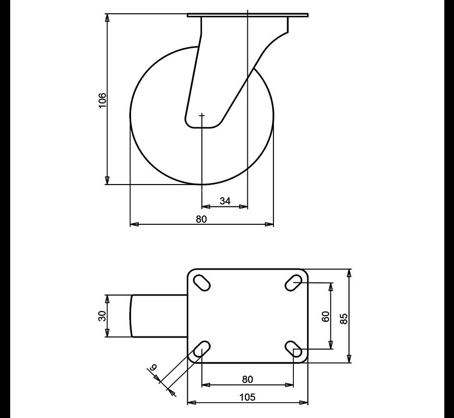 standardno vrtljivo kolo  + siva guma Ø80 x W30mm Za  65kg Prod ID: 39385