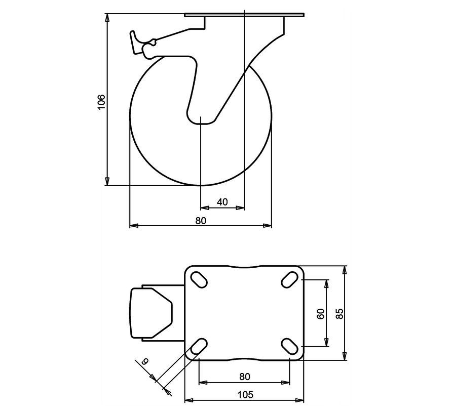 standard Swivel castor with brake + grey rubber tyre Ø80 x W30mm for  65kg Prod ID: 39415