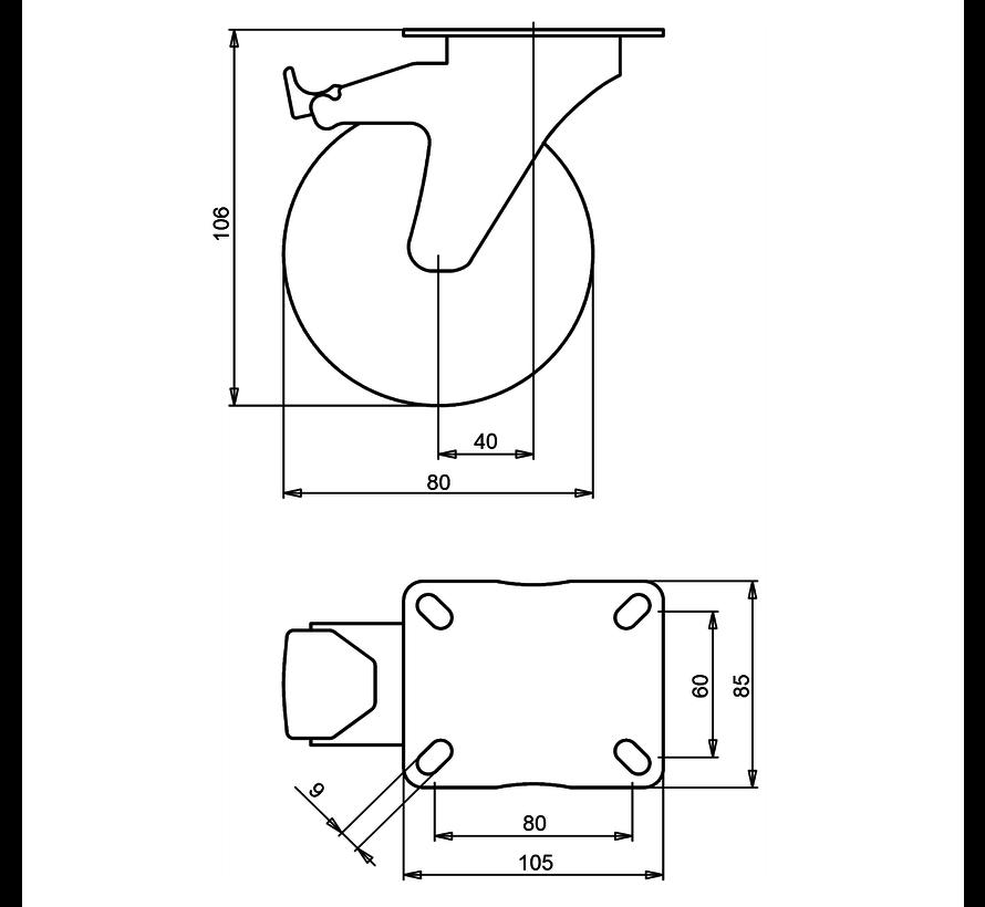 standardno vrtljivo kolo z zavoro + siva guma Ø80 x W30mm Za  65kg Prod ID: 39423