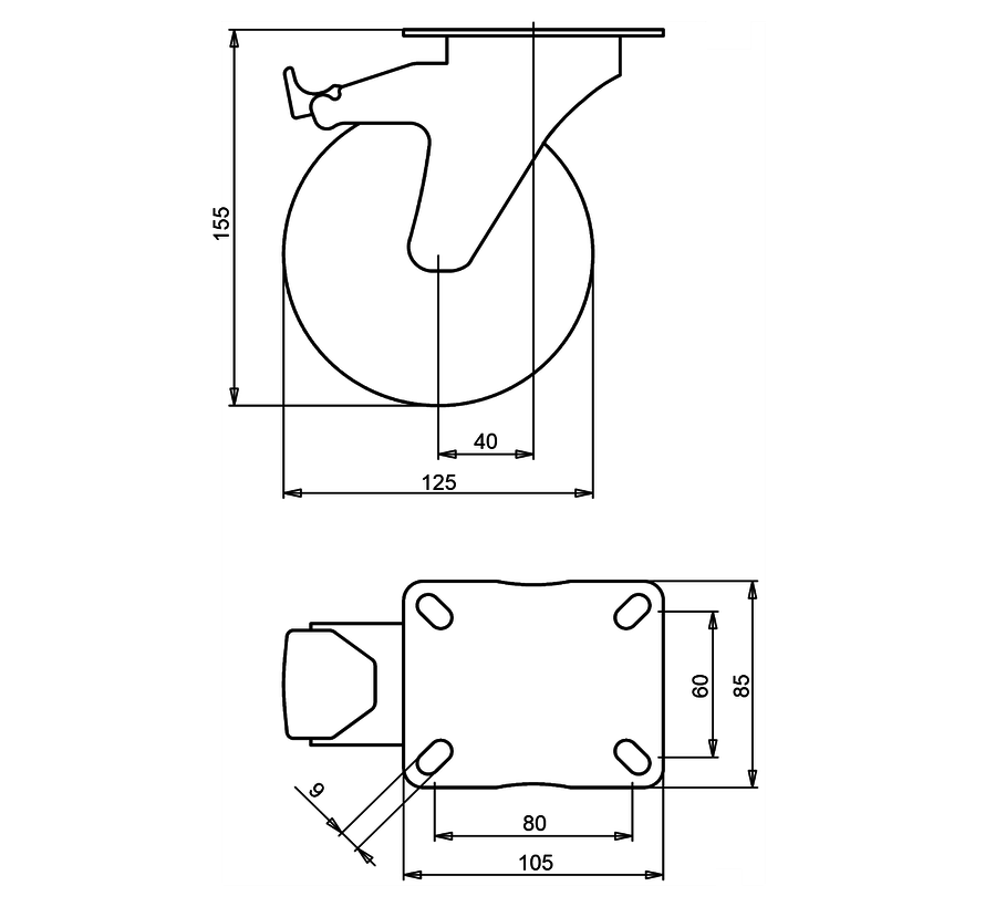 standard Swivel transport castor with brake + black rubber tyre Ø125 x W37mm for  130kg Prod ID: 31204