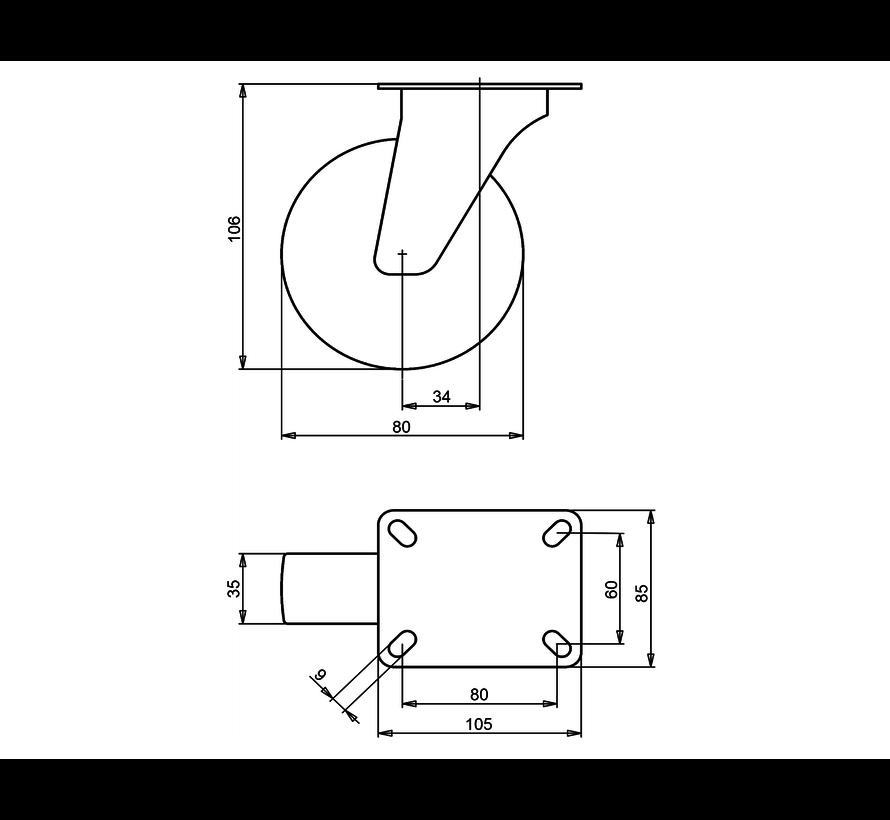 standard Swivel castor + solid polypropylene wheel Ø80 x W35mm for  100kg Prod ID: 66736