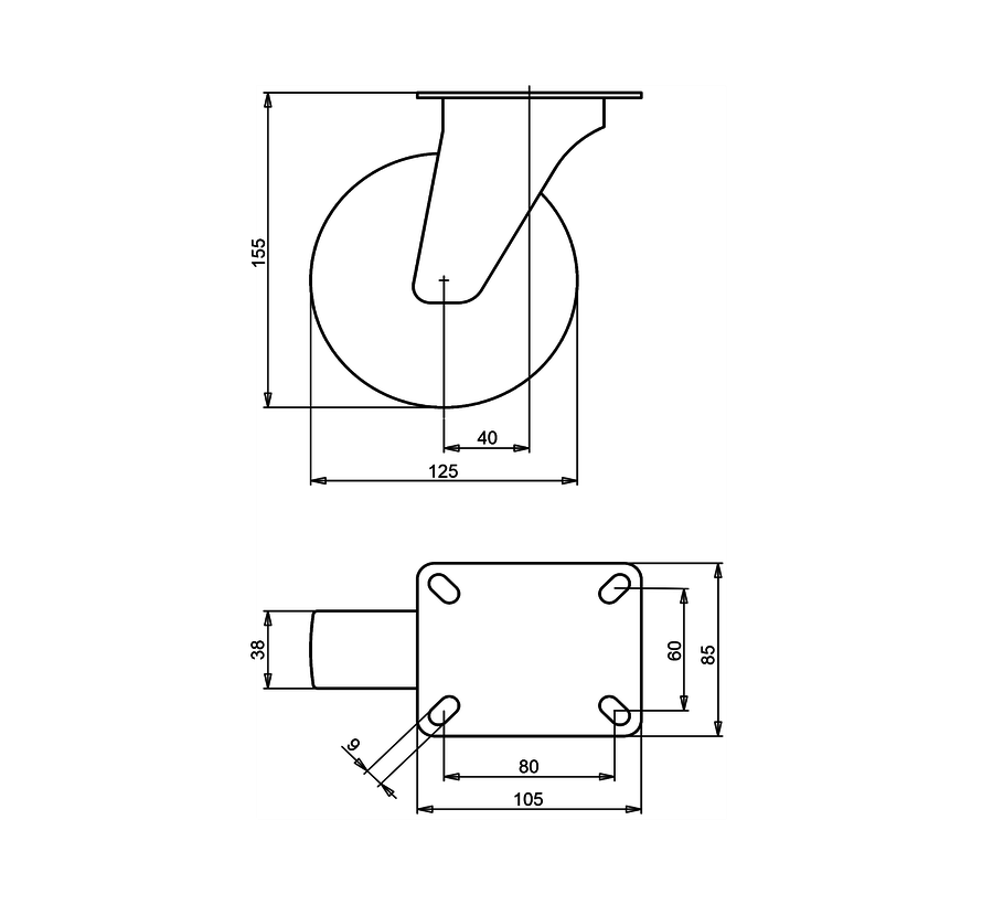 standard Swivel castor + solid polypropylene wheel Ø125 x W38mm for  150kg Prod ID: 66854