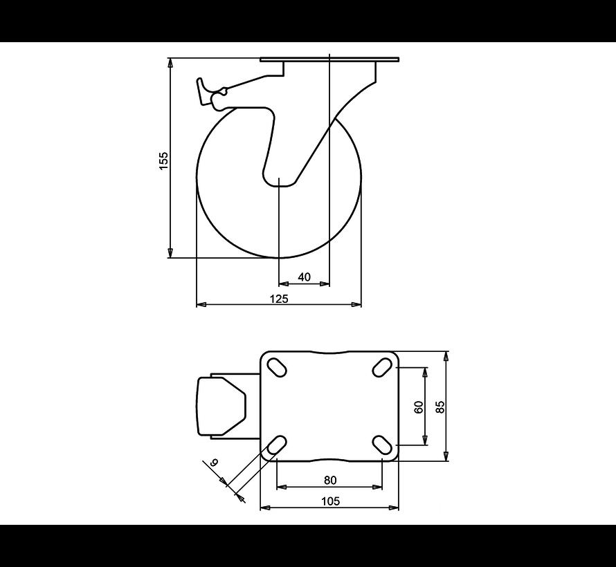 standard Swivel castor with brake + solid polypropylene wheel Ø125 x W38mm for  150kg Prod ID: 30543