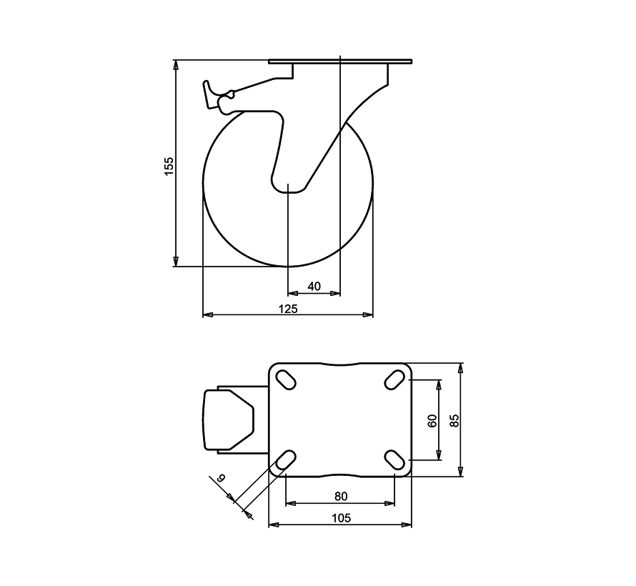 standard Swivel castor with brake + solid polypropylene wheel Ø125 x W38mm for  150kg Prod ID: 30655