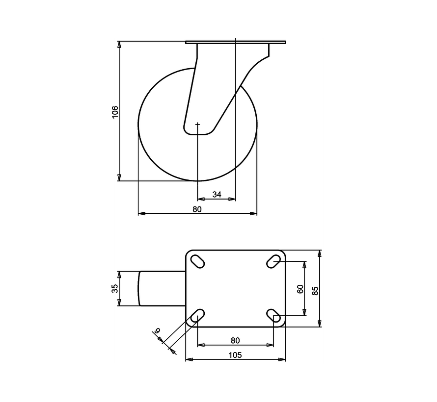 standard Swivel castor + solid polyamide wheel Ø80 x W35mm for  150kg Prod ID: 66842